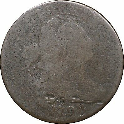 1798 Large Cent, Second Hair Style, S-169, R.3, AG