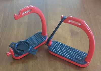"Peacock Safety Stirrups. Size 4.5"" Red Powder Coated Steel. Premium Quality"
