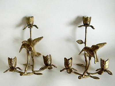 Pair Vintage Brass Wall Sconces Candle Holders Hummingbirds Hollywood Regency