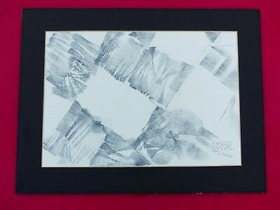 Original Cubism Abstract Drawing Signed Luego 1978 Pencil Graphite On Paper