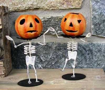 Bruce Elsass ~HOBGOBLINS~ Pâpier-Maché ~DANCING PUMPKIN SKELETONS~ Set of 2 ~NWT