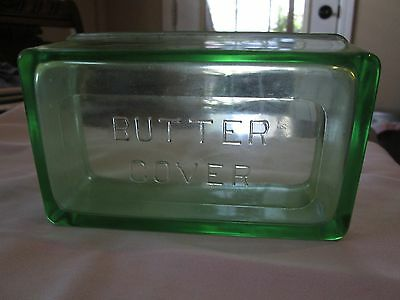 ANTIQUE GREEN GLASS BUTTER COVER price reduced