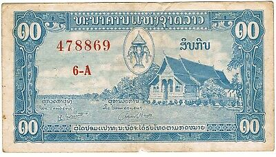 1957 Lao-Laos 10 Kip ND Issue Banque Nationale Du Laos Circulated Pick-3b!!