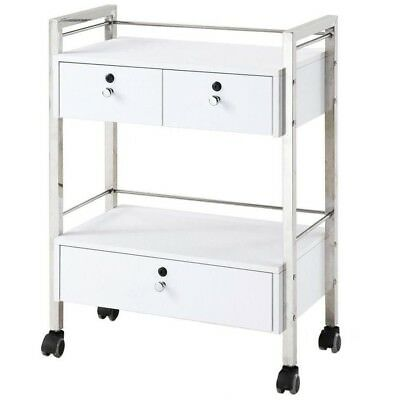 3 Tier Drawer Beauty Trolley Wheels White Salon Hairdressing Spa