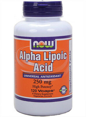Alpha Lipoic Acid 250mg 120 Caps Now Foods, High Potency Antioxidant