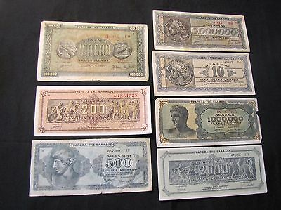 Lot of 7 1944 Greece Drachmai Notes - 2,000, 1,000,000, 10, 200, 5,000,000, 100,