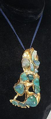 Turquoise large chic pendant on string rope beautiful design Estate