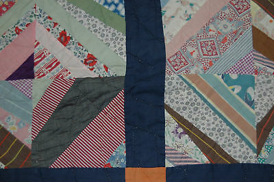 Vintage Crazy Cotton String Quilt Piece Hand Quilted