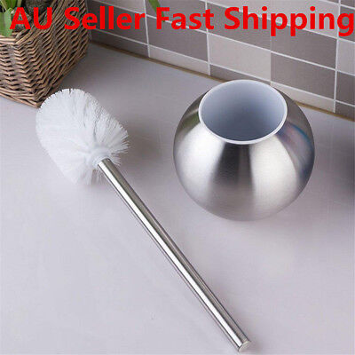 Stainless Steel Silver Toilet Brush & Holder Brushed Home Bathroom Cleaning Set