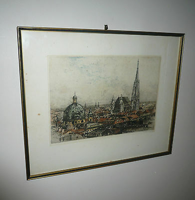 VINTAGE 1950s EUROPEAN ENGRAVING HAND COLORED CITYSCAPE SCENE