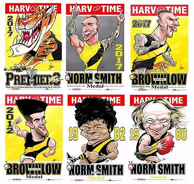 2017 Richmond Tigers Premiers Premiership Harv Time Print Set Of 6 Norm Smith