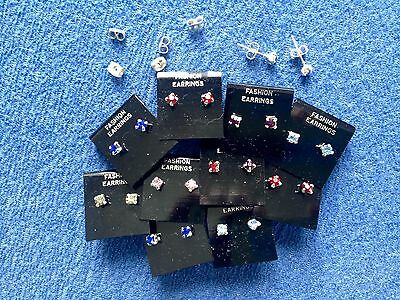 JOB LOT-10 pairs of 0.5cm colour diamonte stud earrings.Silver plated.UK  made.