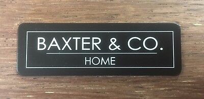 Name Badge - Text with Logo & pin attached, laserable plastic 70X23mm