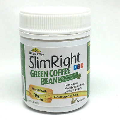 Green Coffee Bean Nature's Way Slimright 60 Capsules Weight Loss Fat Burner