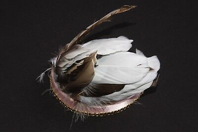 Cute Pink Satin Headband W Black Gold Chain & Brown & Baby Blue Feathers (s149b)