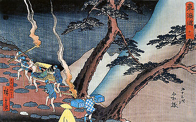 Travellers On A Mountain Path Japanese Repro Woodblock Print By Ando Hiroshige