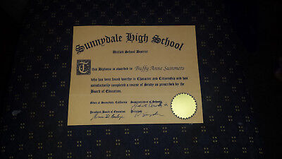 """Buffy the Vampire Slayer - Sunnydale High """"Buffy Summers Diploma Certificate"""""""