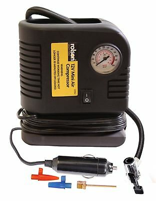Rolson Portable 12V Tyre Air Compressor, 200psi & 25ft Cb/hr, 3m Cable, 42962