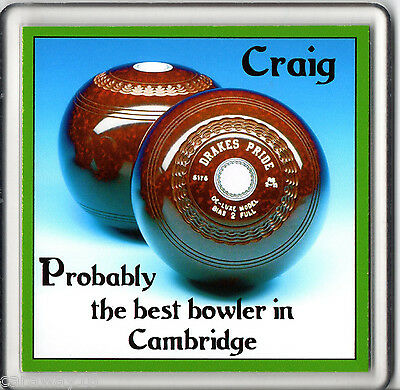 Personalised Best Bowler in etc Acrylic Coaster Fathers Day Gift Lawn Bowls