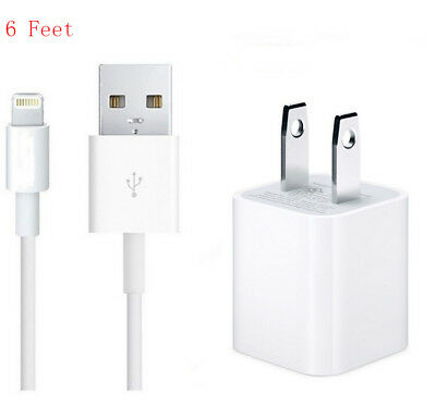 OEM Wall Charger + 6FT USB Lightning Cord Cable for iPhone 7/6S/6/5/5S Plus 8 X