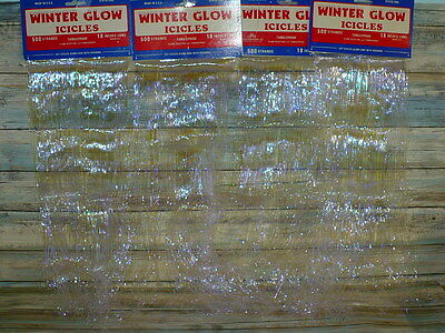 "Vintage Winter Glow Opalescent Christmas Tree ICICLES 4 pkgs 2000 Strands 18"" L"