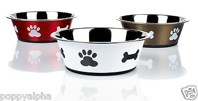 Classic Pet Products Posh Paws Non-Slip Stainless Steel Cat Dog Puppy Dish Bowl