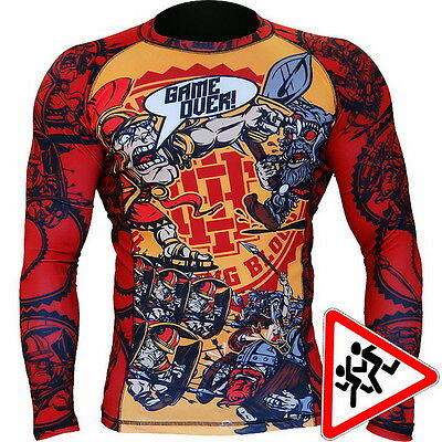 Kids Rashguard Hardcore Training Game Over Niño Compresión superior MMA Fitness