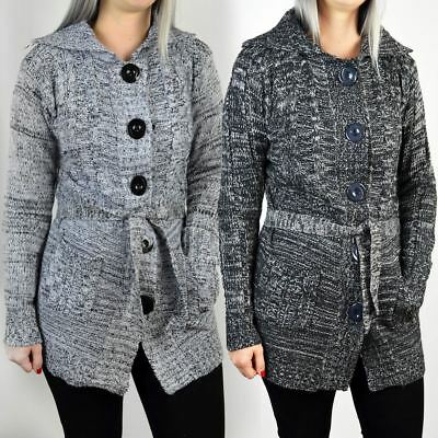 Womens Ladies Cardigan Jumper Belted Long Sleeve Chunky Knitted Top Sweater Size