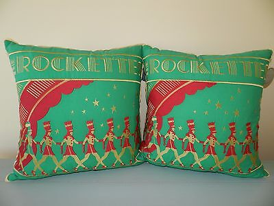 2 Rockettes Radio City Music Hall Archive Collection Pillows New York Red Gold