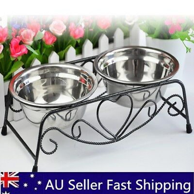 Stainless Steel Double Pet Cat Dog Puppy Water Food Feeder Dish Bowls Stand