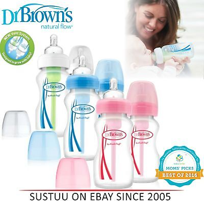 Dr Brown's Options Wide Neck New Improved Baby Formula Feeding Bottle 270ml 2PK
