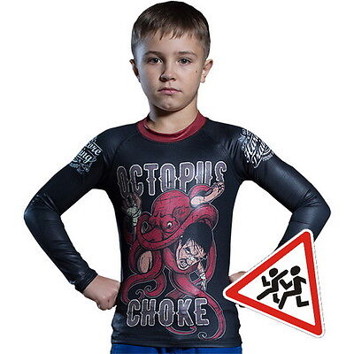Kids Rashguard Hardcore Training Octopus Niño Compresión superior MMA Fitness