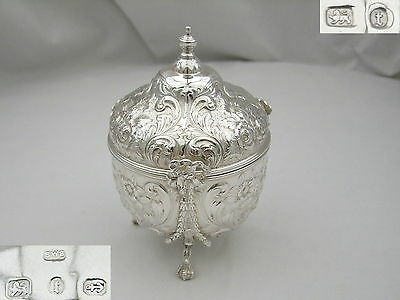 Rare Victorian Hm Sterling Silver Embossed Tea Caddy 1893
