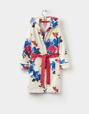 Joules 124419 Girls Nutkin Printed Dressing Gown with Hood in Cream Floral