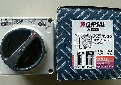Clipsal SURFACE SWITCH 56SW320 TRIPLE POLE 20A IP66 500V