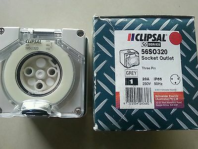 Clipsal 56SO320  Socket Outlet 3-Round pin 20A IP66 250V 50Hz