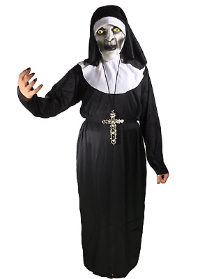 Adult Conjuring Nun Costume Ladies Varak Mask Fancy Dress Holy Religious Habit