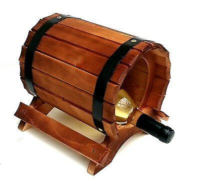 Wine Rack Barrel shaped for 1 Bottles Brown Stained Bar Stand Shelf