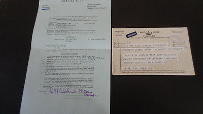 Rory Gallagher Concert Contract & Telegraph Torquay Town Hall 4Th August 1971