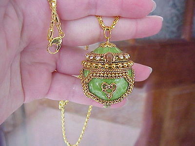 REAL Quail Egg Locket Necklace Handmade Decorated Trinket Box Easter Tree Gift