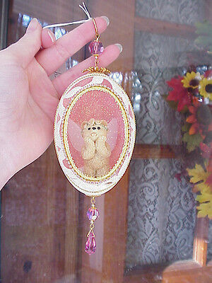 REAL Hand Decorated Carved Goose Egg Christmas Tree Ornament Gift Angel Bear