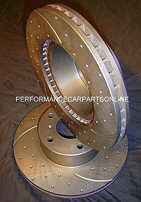 DRILLED SLOTTED Nissan PATROL Y61 4.8L 2001-2010 REAR Disc Brake Rotors NEW PAIR