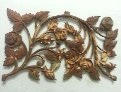 Vintage Architectural Salvage Decorative Cast Iron Ornate Roses Garden 14 1/2""