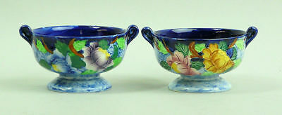 A PAIR OF MALING ART DECO PEONA DARK BLUE PATTERN BON BON DISHES 1930's
