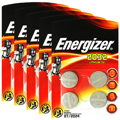 20 x Energizer Lithium CR2032 batteries 3V Coin cell DL2032 EXP:2024 Pack of 4
