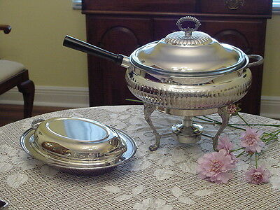SheffieldSilver Co.1 QueenAnne 3Qt. Silverplated Chafing Dish / 1 Vegtable Dish