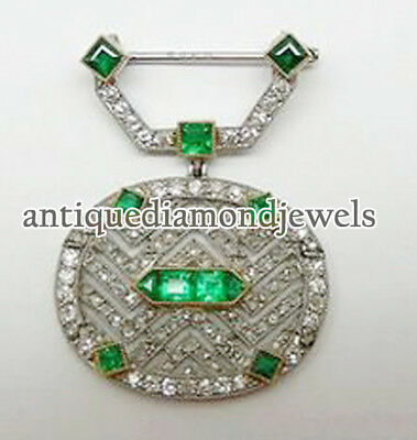 3.25ct ROSE CUT DIAMOND EMERALD 925 STERLING SILVER  WEDDING ANNIVERSARY BROOCH