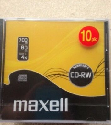 Pack of 10 Maxell CD-RW 700MB 1-4X 80min Jewel Case PS26 PS21