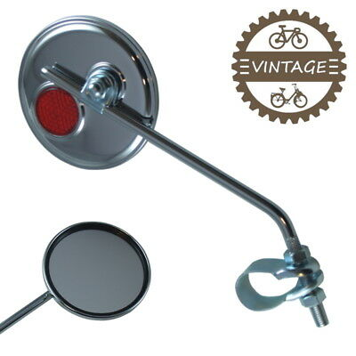Bike Vintage Mirror Scooter Moped Bicycle Round City Fixie 22 Handlebar Chromed