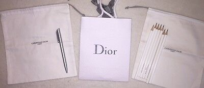 Authentic Christian Dior Pen & 7 pencils & 2 White Dust Bag w/ shopping bag